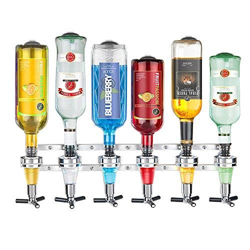 Dispensador-de-Bebidas-para-6-Botellas-Dosificador-Wall-Bracket-Fijar-en-la-Pared-Acero-Inoxidable-Cabeza-Vino-Jugo-Cctel-Plata