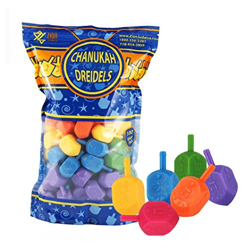 - Zion Judaica 100 Medium Plastic Hanukkah Dreidels with English Transliteration - Ziplock Bag