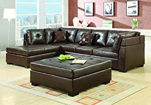 DARIE SECTIONAL SOFA BROWN LEATHER OTTOMAN BUTTON TUFTED CHAISE
