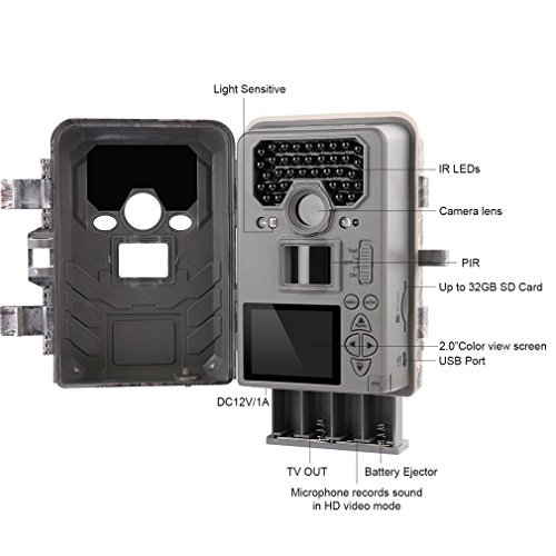LESHP Trail and Game Camera Motion Activated 12 MP 1080P No Glow Trail Camera with Infrared Night Vision Built-in 2.0'' LCD Screen Outdoor Waterproof IP66 Scouting Camera Deer Camera Digital Surveilla by LESHP (Image #2)