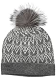 Sofia Cashmere Women's 100% Cashmere Fairisle Hat With Fox Fur Pom, Nightmist Grey/Fairisle Grey, One Size