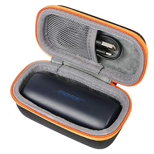 co2crea Hard Travel Case for Bose SoundSport Free Truly Wireless Sport Headphones (Black Case + Oranger Zipper)