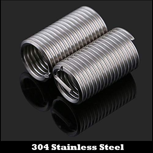 Ochoos 10Pcs M8 M81.252.5D M8x1.25x2.5D 304 Stainless Steel 304ss Repair Screw Bushing Sleeve Coil Wire Thread Insert IDPitchXD