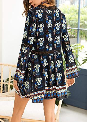 Court Mini cou Printemps Plage Loisir Long Robe Baggy Dame Party Imprimé Manches Tunique Femme Elégante Fashion V Noir De Robes Ete Casual rsxdBhQtC