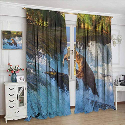 GUUVOR Waterfall for Bedroom Blackout Curtains Image of Large Bear by a Rock in Alaska Waterfall Wildlife in Earth Art Print Blackout Curtains for The Living Room W108 x L72 Inch Multicolor
