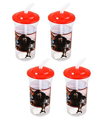 Star Wars Kylo Ren 16oz Sports Tumbler Cups with Lids & Straws, 4-Pack