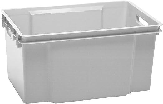 50 litros gris Allibert Hovac Vulcano de pila de tamaño grande de nido de negro cajas de plástico para almacenamiento cajas de buena relación calidad recipientes -!, gris: Amazon.es: Jardín