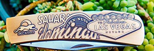 DKC-1202-B Las Vegas Knife Custom Hand Engraved Minted In Antique Brass 4.5 oz 6.75