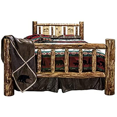 Montana Woodworks MWGCCAKBLZMOOSE Glacier Country Collection California King Bed Brown