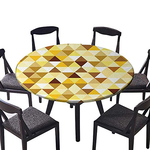 Round Premium Table Cloth Gold Triangle Pattern Happy Brightening Autumn Color Luxury Trendy Ethnic Style Perfect for Indoor, Outdoor 43.5