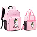 mommore 2 in 1 Cute Unicorn Kids Backpack with Insulated Lunch Bag for Boys and Girls Pink
