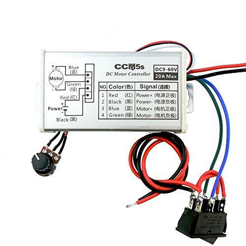 uniquegoods 9V 12V 24V 36V 48V 60VDC 20A(max) PWM DC Motor Stepless Variable Speed Controller With Button Switch and Metal Shell CCM5SK by uniquegoods