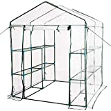 Sundale Outdoor Gardening Large 2 Tier 8 Shelf Steeple Walk in Plant Green House with PVC Cover, 56.5''(L) x 56.5''(W) x 76''(H)