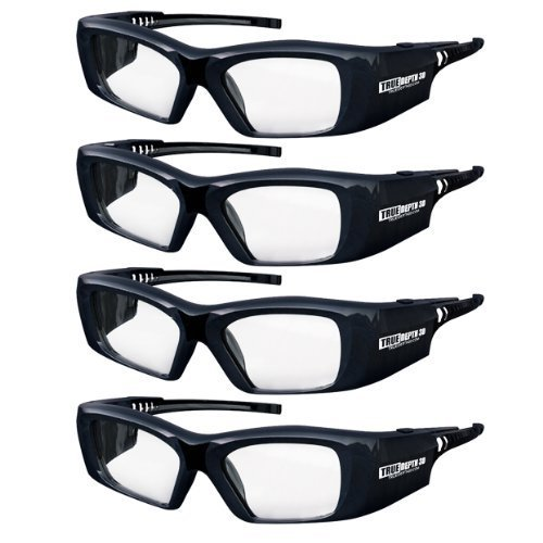True Depth 3D® Firestorm XL Premium Quality DLP-LINK Rechargeable 3D Glasses with SteadySync (TM) Technology (4 Pairs) by True Depth 3D