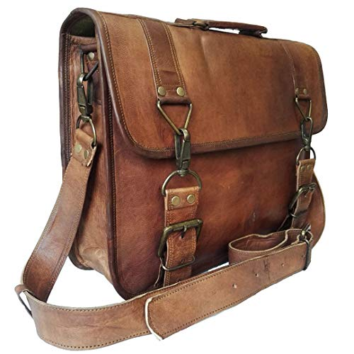 15 Inch Vintage Handmade Leather Messenger Bag for Laptop Briefcase Best Computer Satchel School Distressed Bag