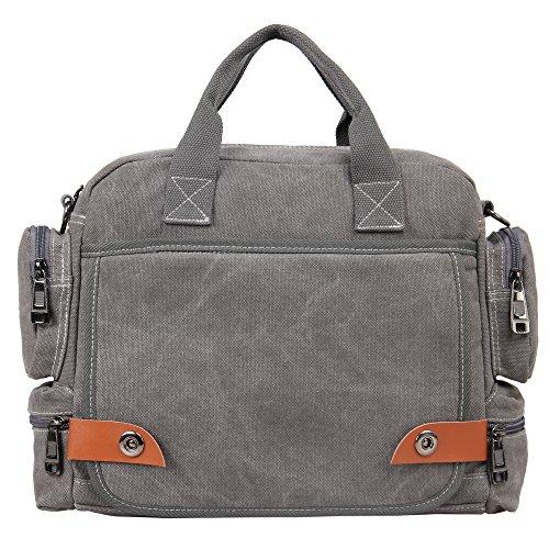 Hynes Eagle Multipurpose Canvas Messenger Bag Fits 13.3 inch Laptop Grey