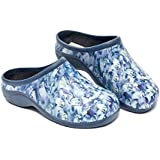 Backdoorshoes Waterproof Premium Garden Clogs with Arch Support-Bluebell Design (8)