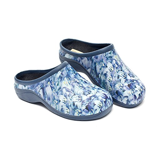 (Backdoorshoes Waterproof Premium Garden Clogs with Arch Support-Bluebell Design (8))