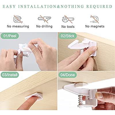 GREBEST Cabinet Locks Child Safety, Baby and Child Proof Safety Cabinet Drawer Latches Locks, 10 Pack 3M Easy Installatioin Invisible Design