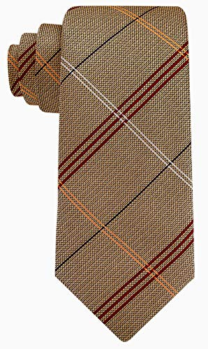Scott Allan Mens Striped Necktie - Dark Khaki and Red ()