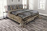 Lunarable Country Bedspread Set King Size, Old Stone House with Ancient Aged Old Window Shutters on Village House Wall Image, Decorative Quilted 3 Piece Coverlet Set with 2 Pillow Shams, Grey Ecru