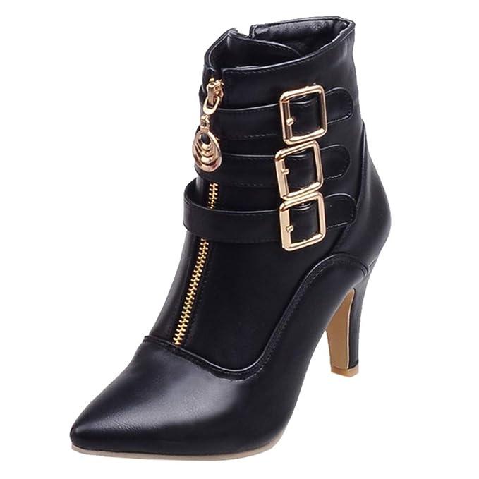 ZARLLE_Botas Zapatos de Mujer Sexy Zapatos de Mujer Tacones Altos Plataforma Thin Heel con Cordones Corto