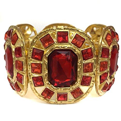 Bug Hunter Costume (Bling Gem Cubes on Wide Gold Tone Stretch Statement Bracelet - Multiple Colors (Red))