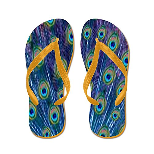 CafePress Peacock Feathers - Flip Flops, Funny Thong Sandals, Beach Sandals Orange