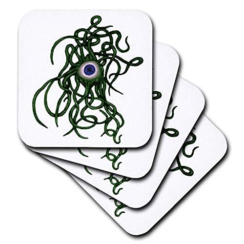 3dRose Taiche - Vector - Halloween Monster - Viral Bacteria Evil Eye Demon Cyclops Monster In Green - set of 4 Ceramic Tile Coasters -