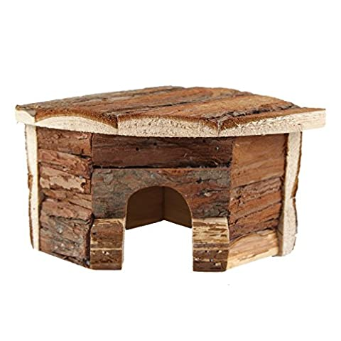 Emours Hamster Wood House Natural Wooden Chews Small Animal Hideout, Small
