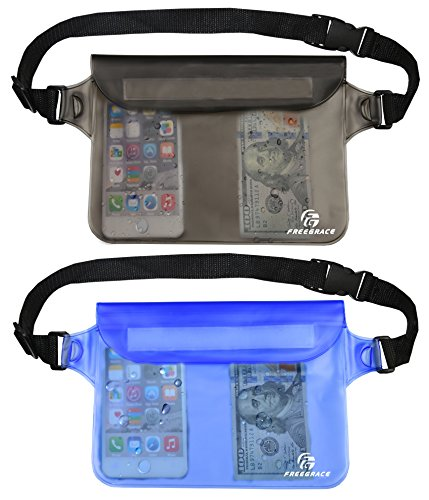 Freegrace Premium Waterproof Waist Pouches Set - Best Way to Keep Your Phone and Valuables Dry and Safe - Perfect for Boating Swimming Snorkeling Kayaking Beach Pool Water Parks (Gray ()