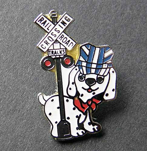 (Popular Enamel Lapel pins - Railroad Crossing Signal Dog Lapel PIN Badge 7/8 INCH - Fashion Pins and Brooches)