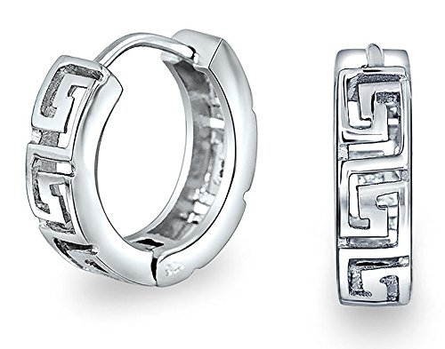 - Greek Key Cutout Huggie Kpop Hoop Earrings for Women For Men 925 Sterling Silver High Polish Hinge Diameter 0.60 in