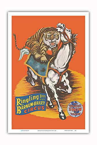 - Pacifica Island Art - Ringling Bros and Barnum & Bailey Circus - Tiger On Horse - Vintage Circus Poster c.1966 - Master Art Print - 12in x 18in
