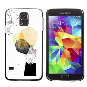 Paccase / SLIM PC / Aliminium Casa Carcasa Funda Case Cover para - Black Lady Nun Fashion Minimalist - Samsung Galaxy S5 SM-G900