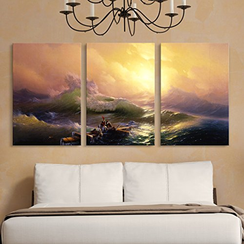 """wall26 3 Panel World Famous Painting Reproduction on Canvas Wall Art - The Ninth Wave by Hovhannes Aivazovsky - Modern Home Art Ready to Hang - 24""""x36"""" x 3 Panels"""