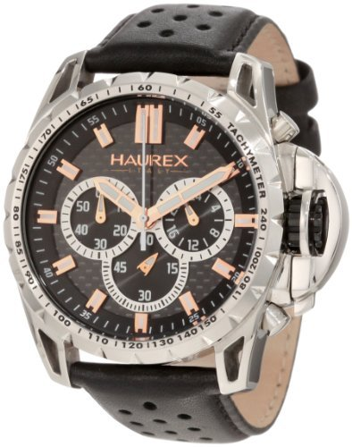 Haurex Italy Men's 9A367UNH Talento-R Chrono Tachymeter Bezel Leather Sport Watch