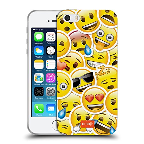 Officiel Emoji Autocollant Smileys Étui Coque en Gel molle pour Apple iPhone 5 / 5s / SE