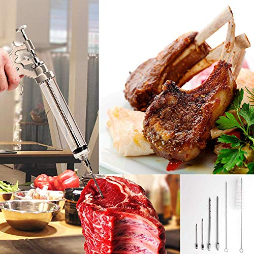 Meat Injector Syringe Stainless Steel Outdoor Meat Kit Marinade Flavor Food Injector Syringes with 3 Marinades Needles Grill Smoker Injectors Professional Syringe Held Culinary Barbecue Tool For BBG