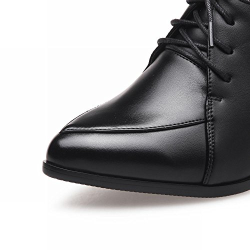 Charm Foot Womens Lace Up Pointed Toe Chunky High Heel Oxfords Shoes Black HgJoIon7y