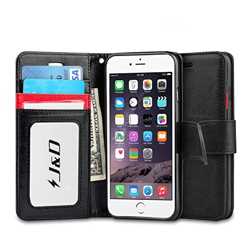 J&D Case Compatible for iPhone 6 Plus/iPhone 6S Plus Case, [Wallet Stand] [Slim Fit] Heavy Duty Shock Resistant Flip Cover Wallet Case for Apple iPhone 6s Plus, Apple iPhone 6 Plus Wallet Case