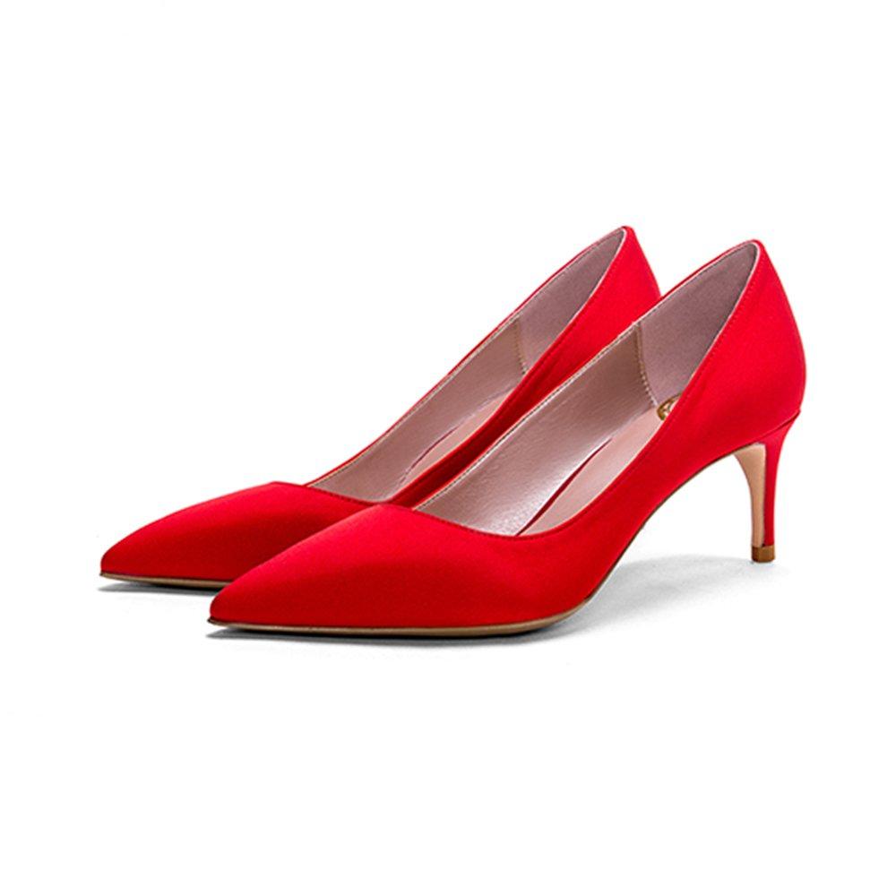 Tacones altos limpios rojos 6cm, puntiagudos con zapatos de satén de seda real de boca baja ( Color : Red6cm , Tamaño : 37 ) 37