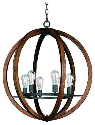 Maxim Lighting 20918APAR Single-Tier Bodega Bay 6-Light Chandelier, Anthracite