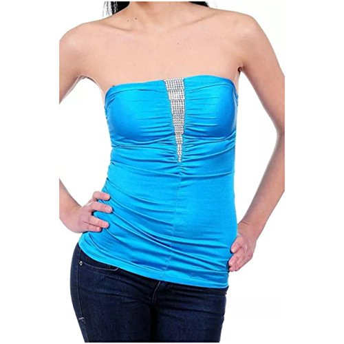 Stretch Shirred Jersey Top (Strapless Tube Top Rhinestone Sparkling Satin Solid Shirred Stretch Club (Small, Blue))