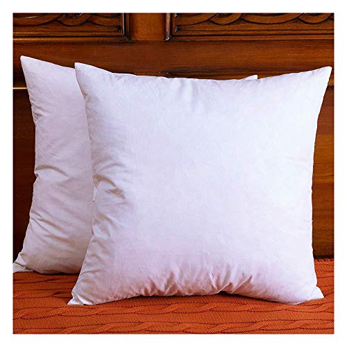 DOWNIGHT Set of 2, Cotton Fabric Throw Pillow Inserts, Down and Feather Decorative Pillow Insert, Please Choose The Correct Size Pillow Inserts, 18X18 Inches. (18 Pillow Insert)