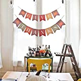 KatchOn Rustic Vintage Give Thanks Banner – Maple Leaves Pumpkin Burlap Wood Style Decor | Sturdy Cardstock | Great Thanksgiving Day, Halloween, Year, Baby Shower, Home Office Decorations Supplies