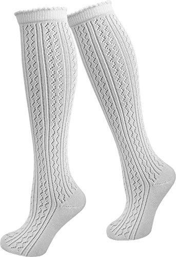 Damen Dirndl Trachtensocken Häkellook Kniestrümpfe für Teenager und Damen Farbe 1 Paar Größe 35/38