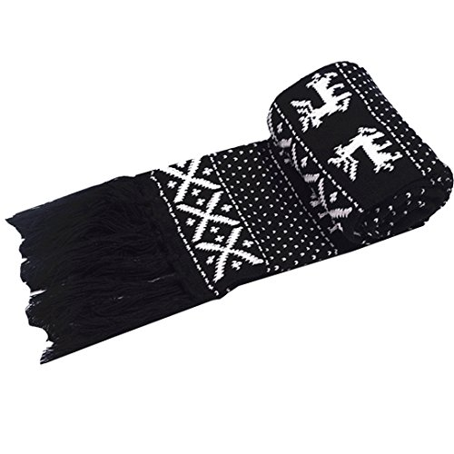 Felice Winter Scarf with Tassel Adult/Child Reindeer Snowflake Knit Scarf Lovely Christmas Scarf (black) by Felice