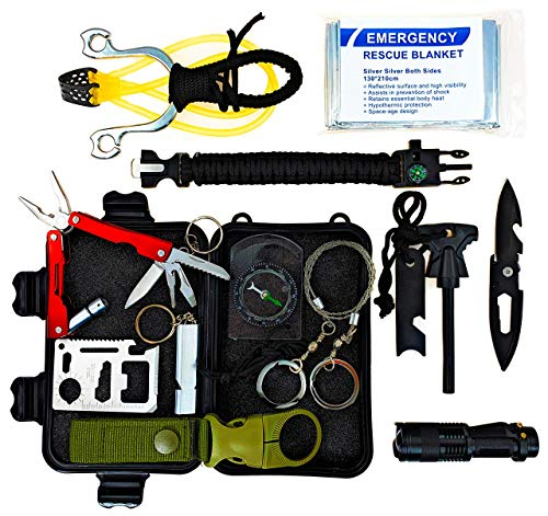 PNW Adventures Great Birthday Gift for Him, Men, Sons, Daughters - Emergency Tactical Survival Kit 12 in 1 with Multitool, Slingshot, Fire Starter for Camping, Hiking - Boy Scout Gift ()