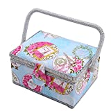 SAXTX Medium Romantic Sewing Basket with 129Pcs Sewing Kit Accessories for Women | Quilting Embroidery and Sewing Project Organizer | Birthday Gift Box
